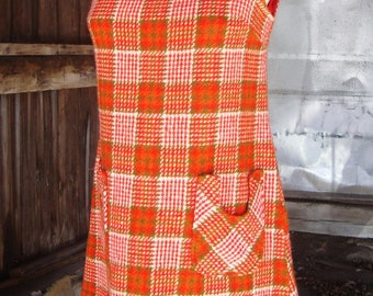 Vintage 1960's Wool Plaid Mod Dolly Jumper Dress * Extra Small