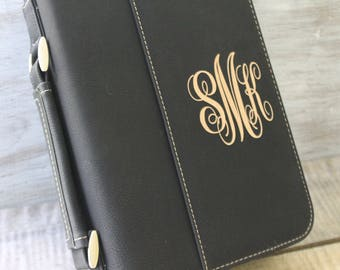Select Size & Color-Bible Case Cover Black, Gray or Leather Laser Engraved Monogram Bible Case Cover with Zipper Closure-Monogram  Case