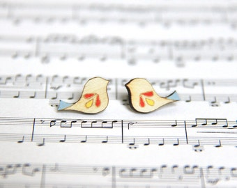 Painted Birds Studs Earrings / HANDMADE Birch Wooden Earrings / Jewellery / Mother's Day Gift for Mum / Birthday Gift for Friend