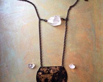Selene - Aged Brass Plate & Quartz Necklace