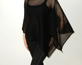 Black Poncho Black Linen knits Cape Summer Wrap Woman poncho black shrugs boleros Summer shrug Linen Accessories