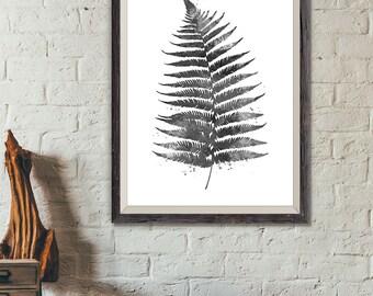 Fern Print, Botanical Print Black and White, Botanical Painting, Fern Watercolor Art, Botanical Decor, Plant Leaf Wall Poster (A0551)