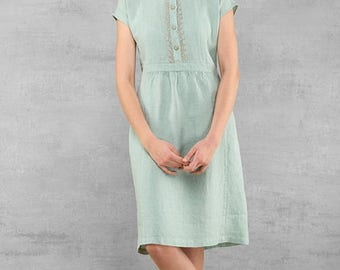 Linen dress, light gray green colour, softened pre washed linen clothing for women