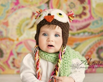 The Duluth Owl hat- baby hat- animal hat- toddler hat- Owl hat