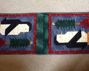 Penguin patchwork runner