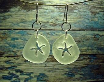 Starfish Seaglass Earrings Beach Lovers Gift Beach Earrings Upcycled Jewelry Starfish Jewelry Sea Glass Jewelry Beach Wedding