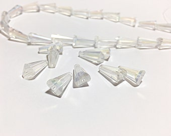 Electroplated Glass Beads 16x8mm, 12 pieces,  Faceted Cone Clear Glass Crystal Beads, Glass Cones Crystal Beads, bridal jewelry supplies