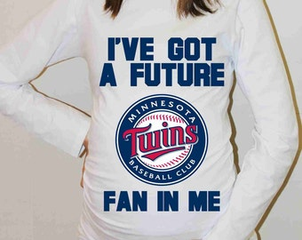 Minnesota Twins Shirt Minnesota Twins Baseball Long Sleeve Maternity Shirt Pregnancy Baby Shower