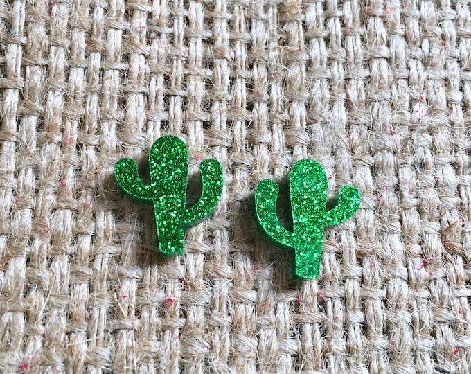 Cactus Studs, Cactus Stud Earrings, Green Cactus Studs, Glitter Cactus Studs, Acrylic Cactus Studs, Cowgirl Cactus Studs, Boho Cactus Studs