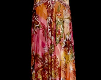 Orange and Pink Floral Rhinestone Satin Gown          VG295