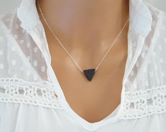 Triangle Lava stone Necklace, Essential Oil Diffuser, Lava rock necklace, Dainty 14 k Gold Filled, Sterling, Minimalist Aromatherapy Jewelry