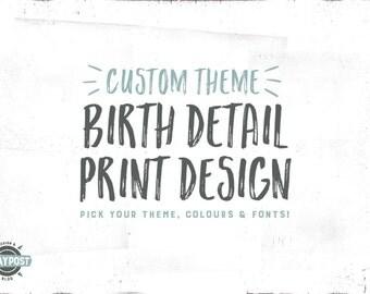 Nursery Print Birth Details (Custom Theme)