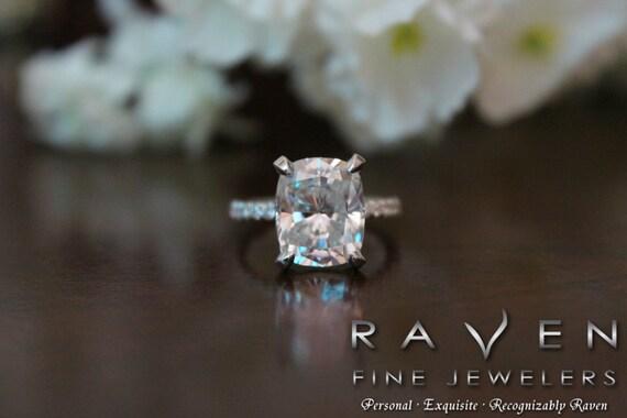 5 Carat Elongated Cushion Moissanite Amp Diamond Pave Engagement