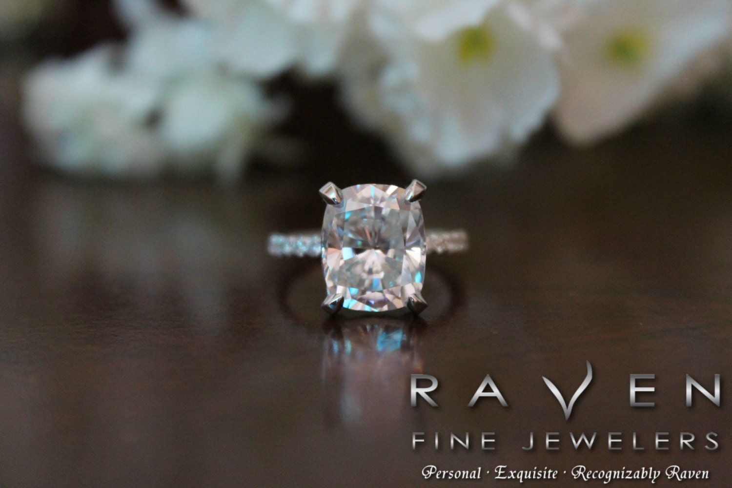 5 Carat Elongated Cushion Moissanite & Diamond Pave Engagement