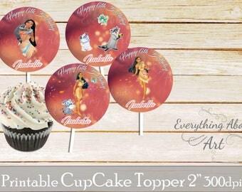 Pocahontas Cupcake toppers printable, Pocahontas birthday, Printable cupcake toppers, Birthday party supplies, Pocahontas cupcake toppers