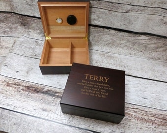 Personalized Cedar Cigar Humidor- Custom Quote- Gifts for Men- Groomsmen- Husband- Logo