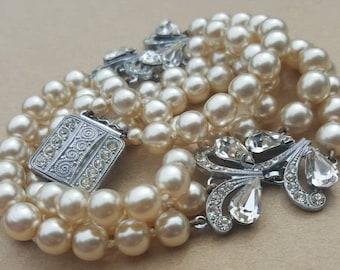 Triple strand pearl | Etsy