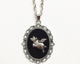 Flying Pig Necklace, Silver Pig Pendant, Quirky Jewelry, Black Velvet Cameo, Antique Silver Frame, Gift For Her, Pigs Might Fly, Handmade