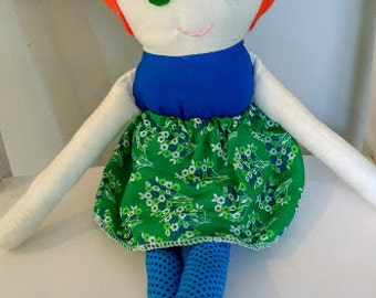High Pigtail Style Doll---Handmade personalized doll --- Custom made to look like your child--- Rag doll--- Fabric Doll