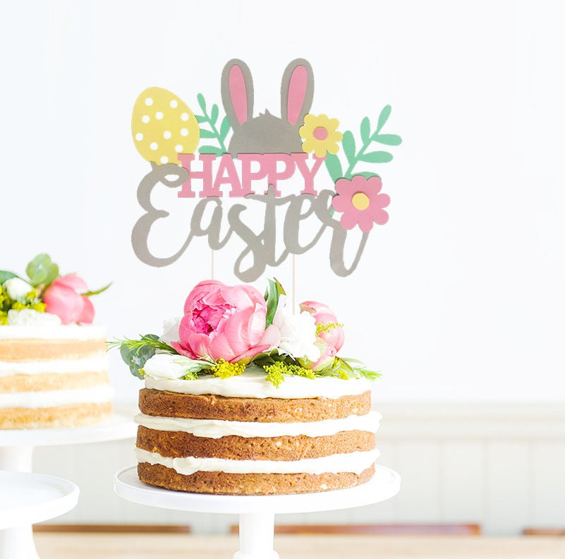 Happy Easter Cake Topper, Easter Cake Topper, Bunny Cake Topper, Spring Cake Topper, Easter Party Decor, Easter Baby Shower, Spring Decor