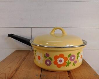 Vintage Yellow Enamel Sauce Pan With Flowers, Retro Kitchen