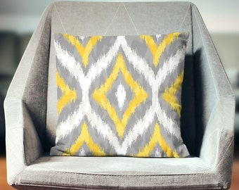 Ikat Pillows | Yellow Ikat Pillow | Ikat Throw Pillow | Ikat Cushion | Ikat Pillowcase | Ikat Print Pillows | Neutral Ikat Pillow