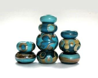 Lampwork Focal Bead Set, Big Hole Beads, Handmade Beads, Large Hole Bead, Sari Silk, Blue, Glass, Beads, European Beads, Big Beads, Supplies
