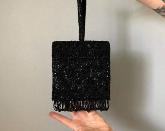 Vintage Black Beaded Clutch- MINT CONDITION