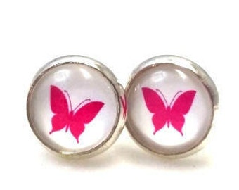 The pink butterfly Stud Earrings Silver / earrings cabochon 10 mm / glass pearls / butterfly studs / earrings handmade