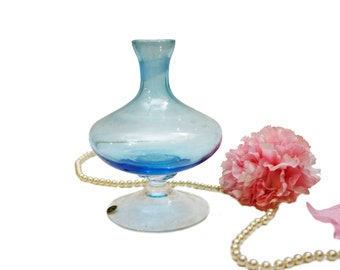 Vintage Beautiful Blue Glass Vase Made In Italy