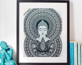 Buddha, Lotus,Om Mandala art print , home decor
