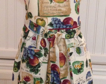 Vintage style, daughter full apron vintage tablecloth ecru eyelet lace ruffle pears apples green leaves purple grapes  bodice burgundy trim