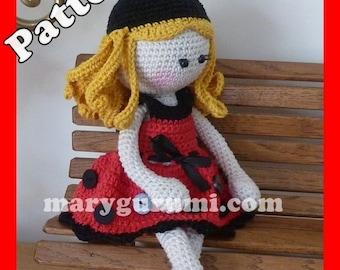 "Crochet Pattern, pattern, tutorial, Amigurumi doll, Bénédicte ""Ladybug"""