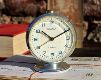 Vintage Alarm Clock - Coworker Gift - Birthday Gift - Retro Alarm Clock - Soviet Clock - Mechanical Clock - Blue Alarm Clock - Wind Up Clock
