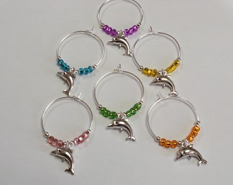 Dolphin Wine Glass Charms, Dolphin Wine Glass Markers, Dolphin lovers gift, Gift Under 10, Porpoise Wine Charms