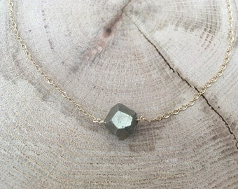 Pyrite Nugget Gold Chain Necklace