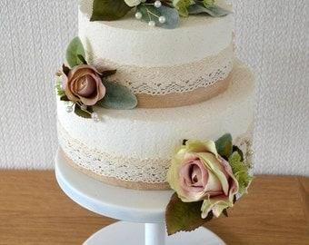 Wedding Flower Cake toppers vintage pink ivory