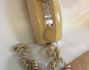 Tan Wall Telephone, Beige Push button phone, AT&T, Landline, Wall phone, Kitchen phone,Theater Prop,Adjustable Volume,For Repair,Phone parts