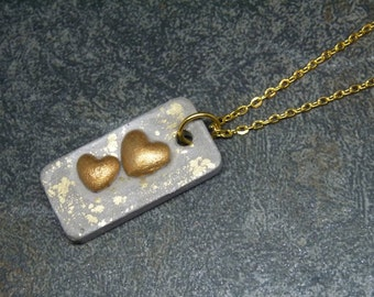 Necklace concrete Golden Heart pendant * - gift -.