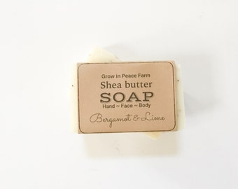 Bergamot & Lime - All Natural, Shea Butter Soap, Homemade Soap, Handmade Soap, Handcrafted Soap