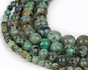 "Natural African Turquoise Beads, Full 15.5"" Strand Natural Round Wholesale 4mm 6mm 8mm 10mm"