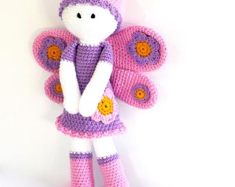 READY TO SHIP, Crochet Butterfly Doll, Crochet Animal, Personalised Toy, Baby Girl Toy, White Stork Creations