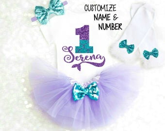Little Mermaid Birthday Outfit Mermaid 1st Birthday Outfit Mermaid First Birthday Outfit Under the Sea Birthday Outfit Mermaid Tutu ANY AGE