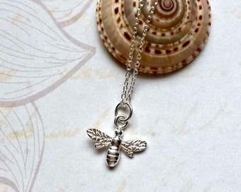 Sterling Silver Bee Necklace Bee Pendant Gifts for Her