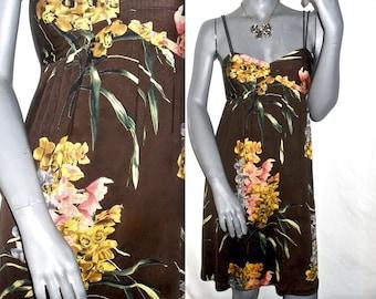 Grunge Brown/Multi Color Floral Spaghetti Strap Empire Waist Summer Sun Dress 4