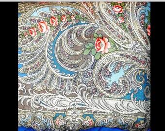 Russian Blue Multi Rose/Floral/Brocade/Paisley Print Fringe Shawl/Scarf