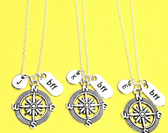 Best Friend necklace- Set of 3, silver compass necklace, compass charm, 3 best friend necklace, distance friend, 3 bff necklace, compass