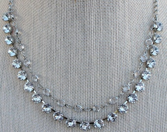 Chanel Necklace, Two Stand Swarovski Crystal and 6mm Chanel Chain Choker, wedding or prom jewelry