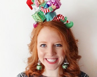 ugly Christmas sweater party, christmas headband adult, christmas elf costume, christmas hair accessories, christmas elf doll, peppermint