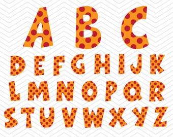Birthday Alphabet Polka dot Letters SVG PNG DXF eps, School kid Font, Vinyl Decal Cut File Cricut Design Silhouette studio